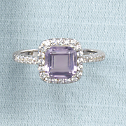 square amethyst cubic zirconia ring by rebecca sloane