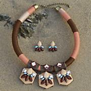 bead medallion necklace earring set