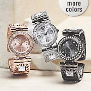 crystal hinged cuff watch