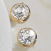 white topaz solitaire post earrings
