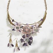 gemstone necklace earring set
