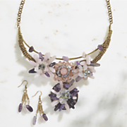 gemstone necklace earring set
