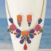 multi color necklace earring set