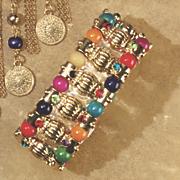 multicolor bead stretch bracelet