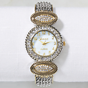 two tone crystal hinged bangle watch