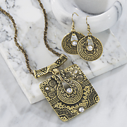 scroll necklace earring set