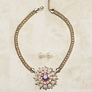 crystal faux pearl cluster necklace earring set