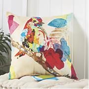 bright bird collage pillow