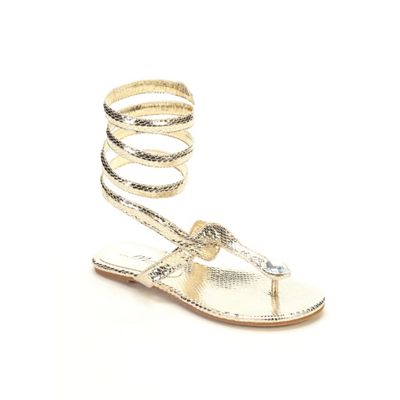 Snake Print Wrap Sandal by Midnight Velvet