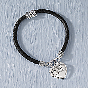 braided leather cubic zirconia heart name bracelet