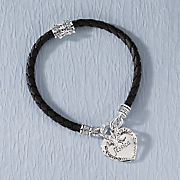 Braided Leather Cubic Zirconia Heart/Name Bracelet