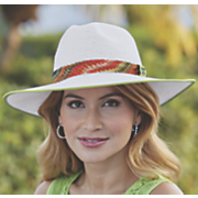 wide brim fedora with colorful band