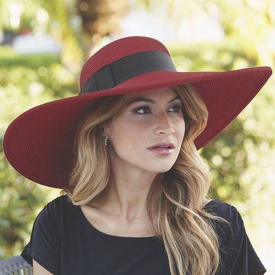 Wide Brim Hat with Grosgrain Hat Band