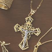 two tone crucifix pendant 33
