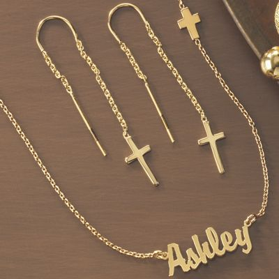 Name/Cross Necklace