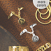 personalized initial charm split ring