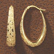 diamond cut oval hoops