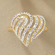 Diamond Heart Swirl Ring