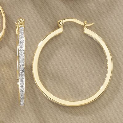 Diamond In/Out Round Hoops