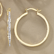 diamond in out round hoops