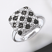 black diamond quilted rectangle ring