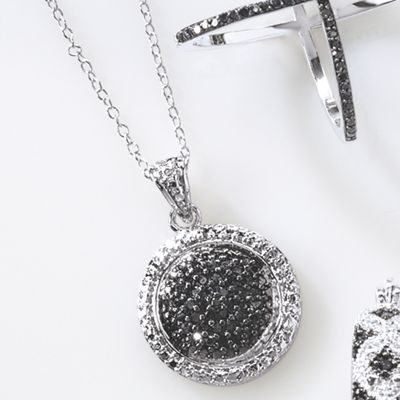 Black Diamond Round Cluster Pendant