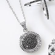 black diamond round cluster pendant