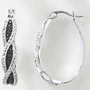black diamond swirl oval hoops