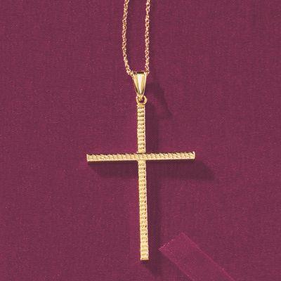 Diamond-Cut Cross Pendant