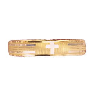 14K Gold Two-Tone Cross Band