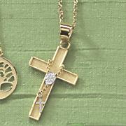 rosary cross two tone pendant
