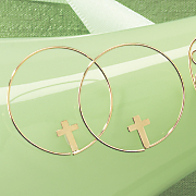 10k gold cross hoops