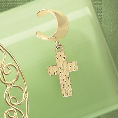 14K Gold Cross Ear Cuff
