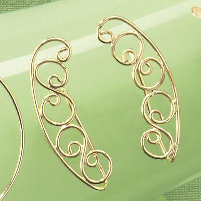 10K Gold Swirl Ear Climber Earrings