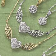 10k gold diamond heart wings pendant