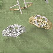 10k gold diamond heart cross ring 24