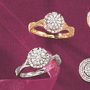 10k gold diamond round halo ring