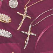 10k gold diamond two tone cross wrap pendant