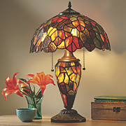 double lit palm leaves stained glass table lamp