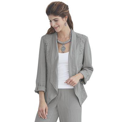 Lace/Linen-Look Jacket