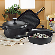 5 pc  cast iron cookware set