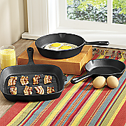 pre seasoned cast iron 3 pc  skillet and grill fry pan set