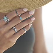 Faux Turquoise 5-Pc Ring Set