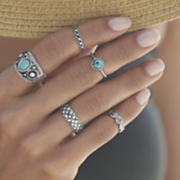 faux turquoise 5 pc ring set