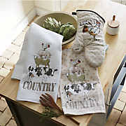 3 pc  country animals kitchen towel set