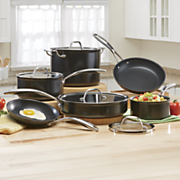 10 pc  hard anodized cookware set by kitchenaid