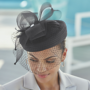 satin braid pillbox hat with veil