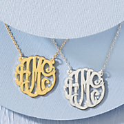 monogram script necklace