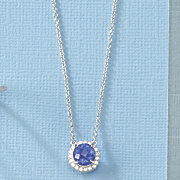round blue obsidian cubic zirconia necklace by rebecca sloane