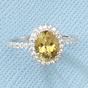 oval citrine cubic zirconia ring by rebecca sloane